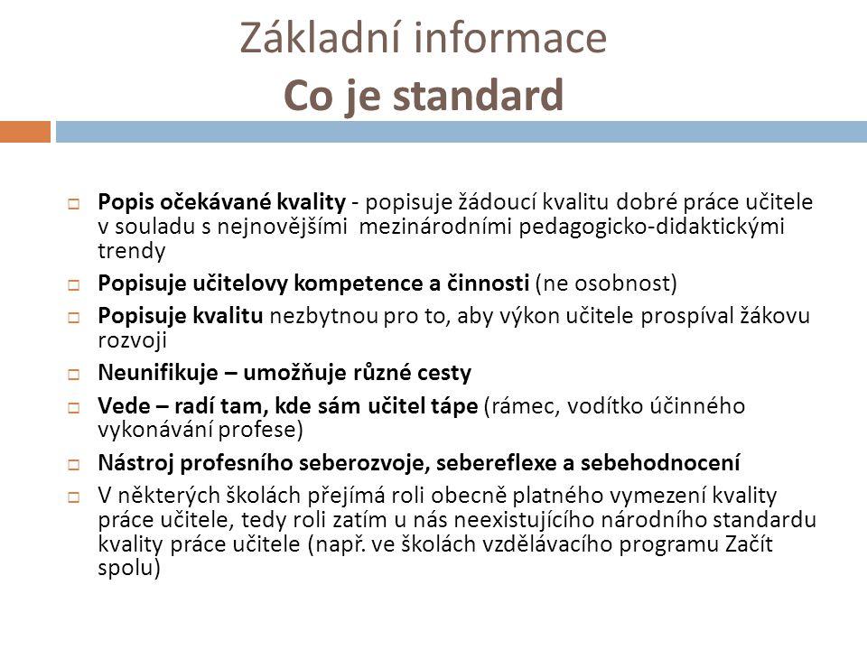 Základní informace Co je standard  Popis očekávané kvality - popisuje žádoucí kvalitu dobré práce učitele v souladu s nejnovějšími mezinárodními peda