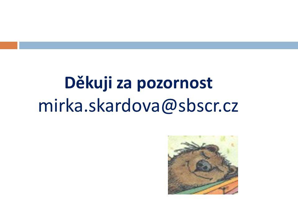 Děkuji za pozornost mirka.skardova@sbscr.cz