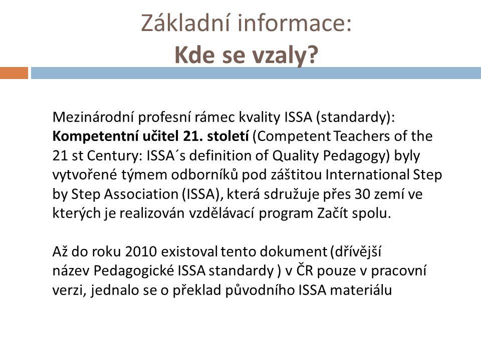 Základní informace: Kde se vzaly? Mezinárodní profesní rámec kvality ISSA (standardy): Kompetentní učitel 21. století (Competent Teachers of the 21 st