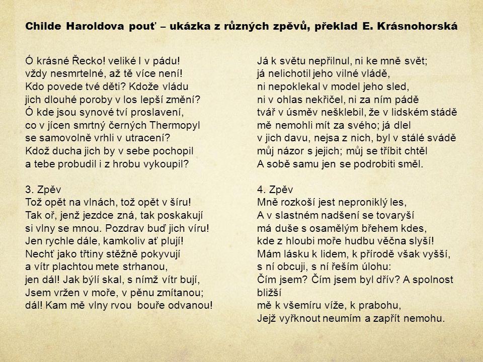 Childe Haroldova pouť – ukázka z různých zpěvů, překlad E.