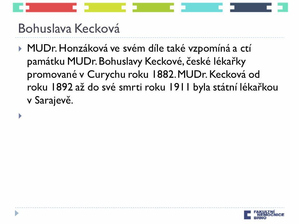 Bohuslava Kecková  MUDr. Honzáková ve svém díle také vzpomíná a ctí památku MUDr. Bohuslavy Keckové, české lékařky promované v Curychu roku 1882. MUD
