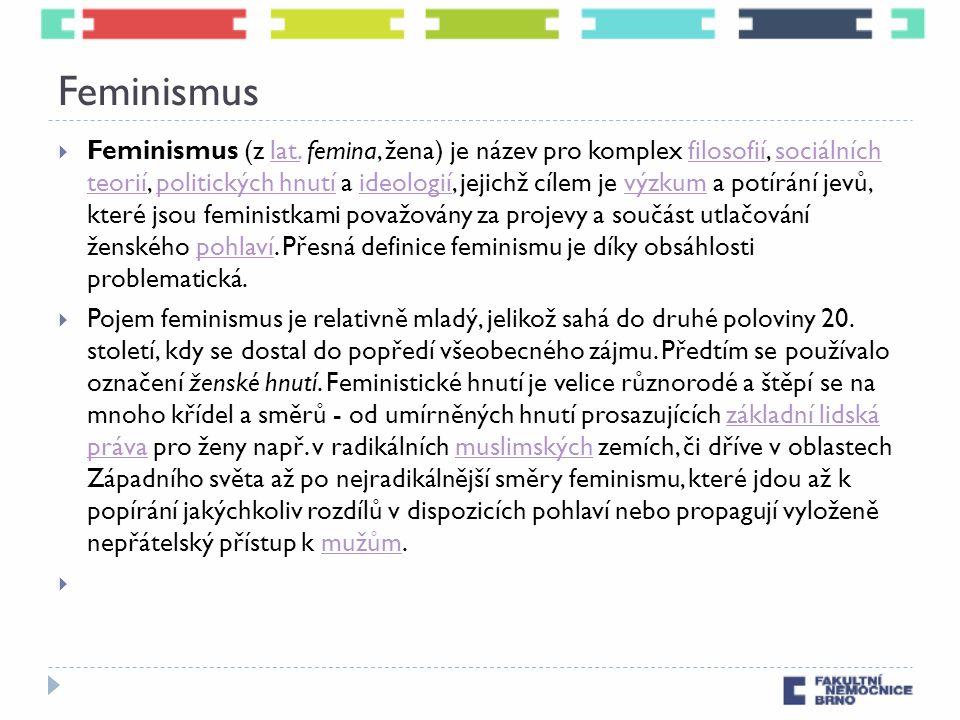Feminismus  Feminismus (z lat. femina, žena) je název pro komplex filosofií, sociálních teorií, politických hnutí a ideologií, jejichž cílem je výzku