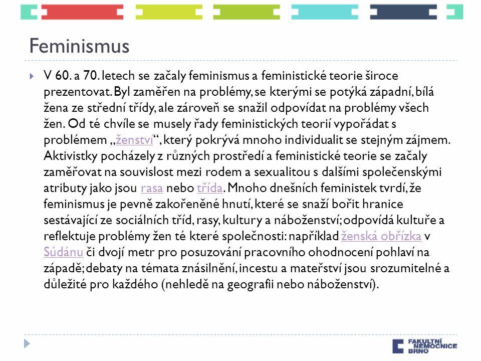 Feminismus  V 60. a 70. letech se začaly feminismus a feministické teorie široce prezentovat. Byl zaměřen na problémy, se kterými se potýká západní,