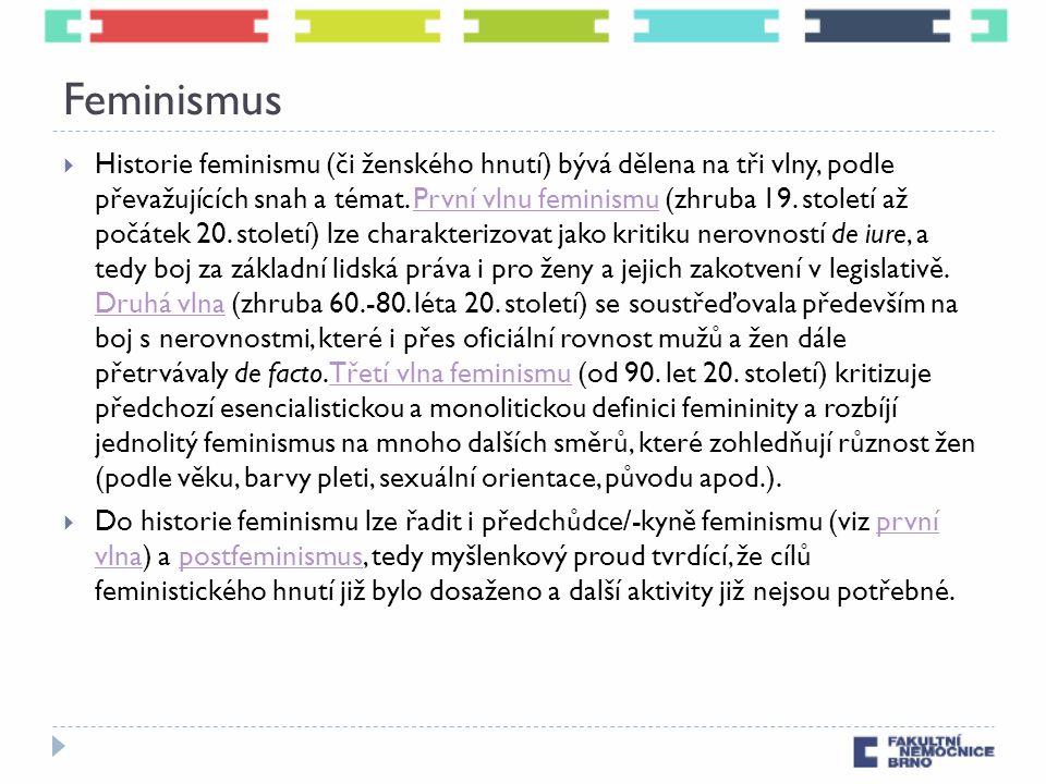 Feminismus  Historie feminismu (či ženského hnutí) bývá dělena na tři vlny, podle převažujících snah a témat. První vlnu feminismu (zhruba 19. stolet