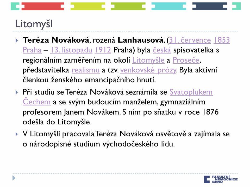 Litomyšl  Teréza Nováková, rozená Lanhausová, (31. července 1853 Praha – 13. listopadu 1912 Praha) byla česká spisovatelka s regionálním zaměřením na