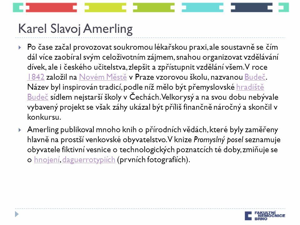 Karel Slavoj Amerling  Po čase začal provozovat soukromou lékařskou praxi, ale soustavně se čím dál více zaobíral svým celoživotním zájmem, snahou organizovat vzdělávání dívek, ale i českého učitelstva, zlepšit a zpřístupnit vzdělání všem.