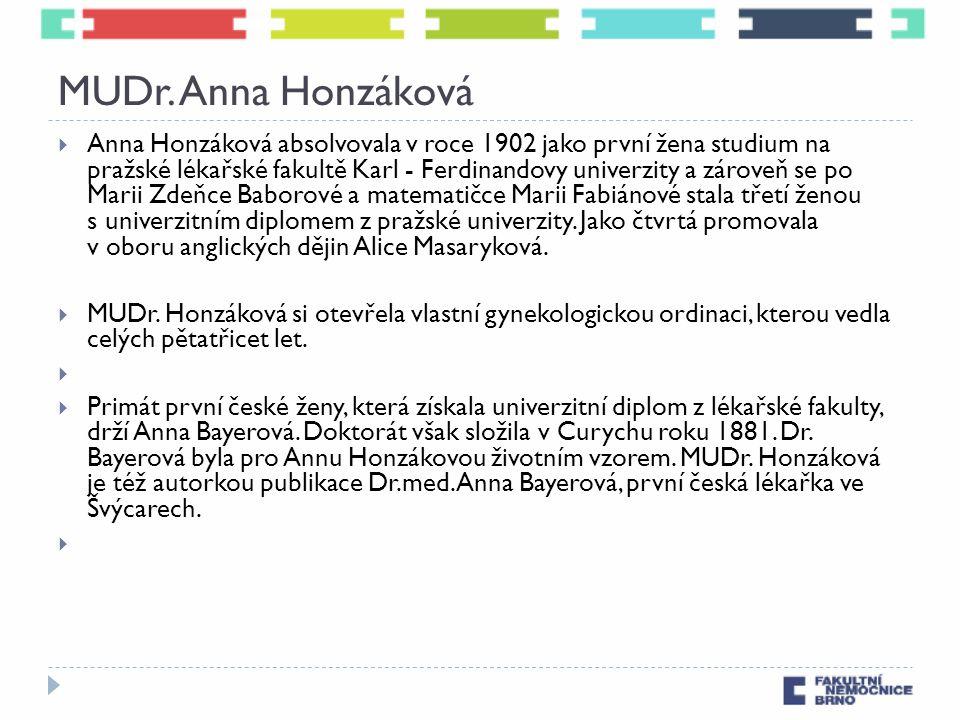 MUDr. Anna Honzáková  Anna Honzáková absolvovala v roce 1902 jako první žena studium na pražské lékařské fakultě Karl - Ferdinandovy univerzity a zár