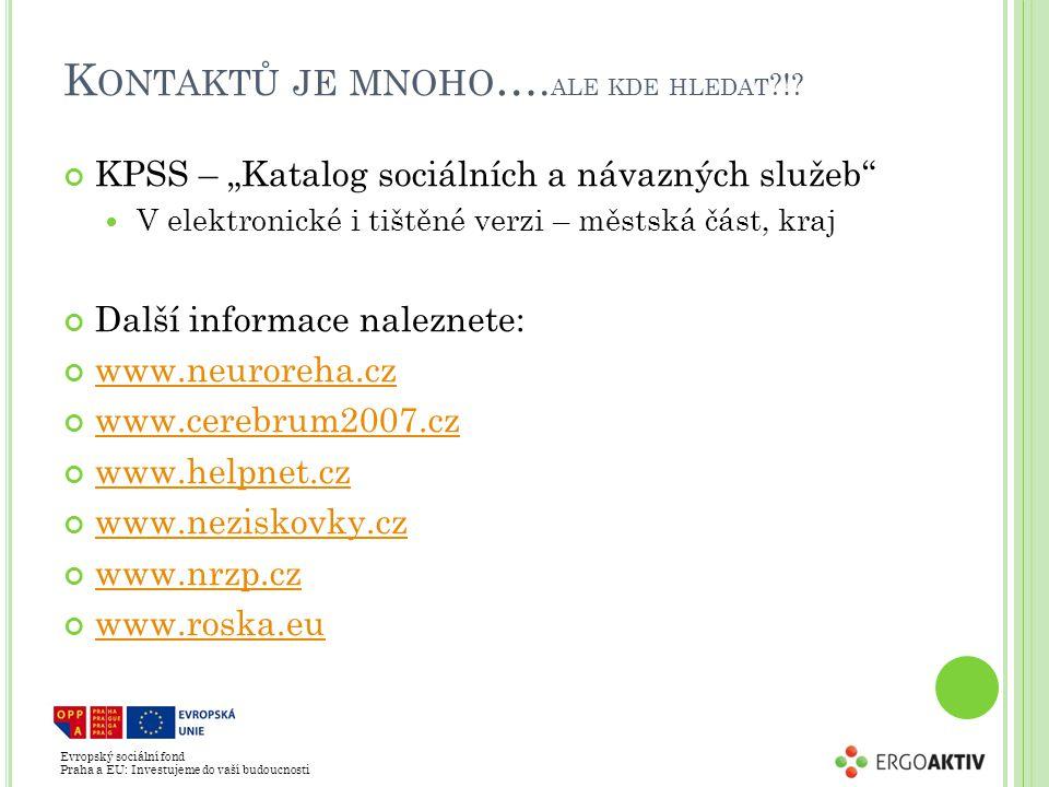 Evropský sociální fond Praha a EU: Investujeme do vaší budoucnosti K ONTAKTŮ JE MNOHO ….