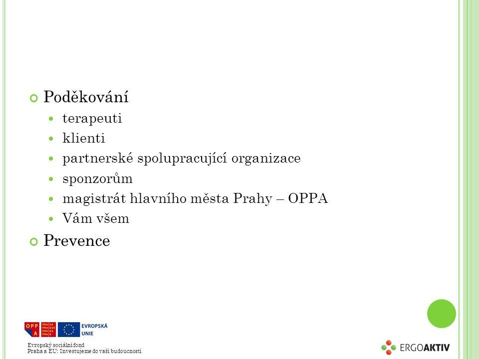 Evropský sociální fond Praha a EU: Investujeme do vaší budoucnosti Poděkování terapeuti klienti partnerské spolupracující organizace sponzorům magistrát hlavního města Prahy – OPPA Vám všem Prevence