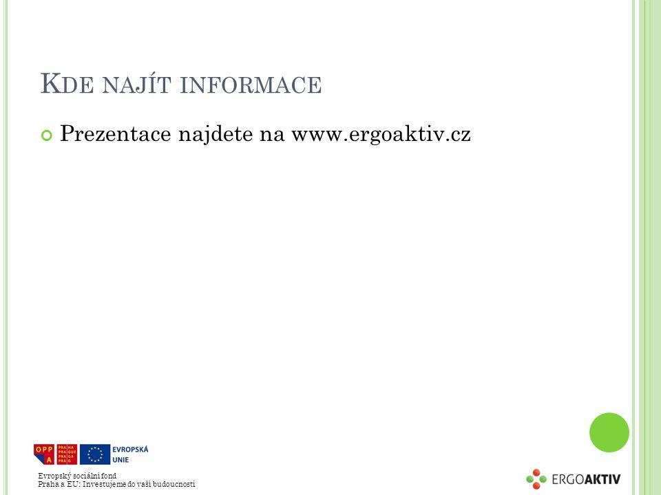 Evropský sociální fond Praha a EU: Investujeme do vaší budoucnosti K DE NAJÍT INFORMACE Prezentace najdete na www.ergoaktiv.cz