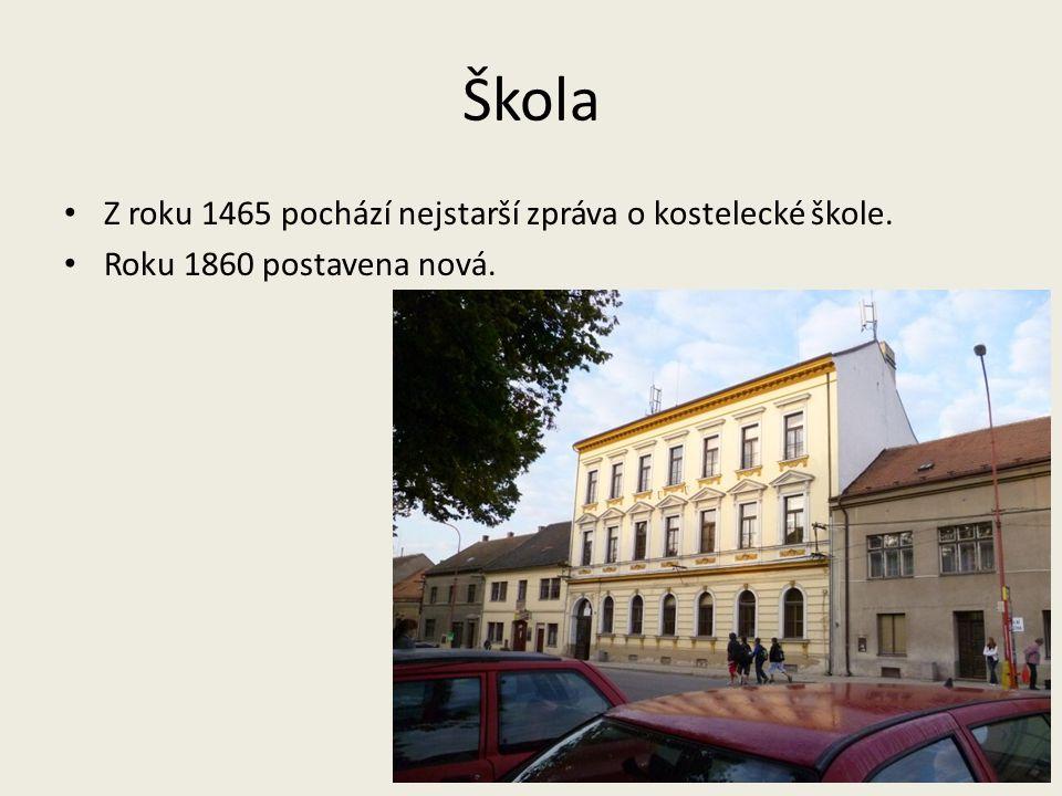 Škola Z roku 1465 pochází nejstarší zpráva o kostelecké škole. Roku 1860 postavena nová.