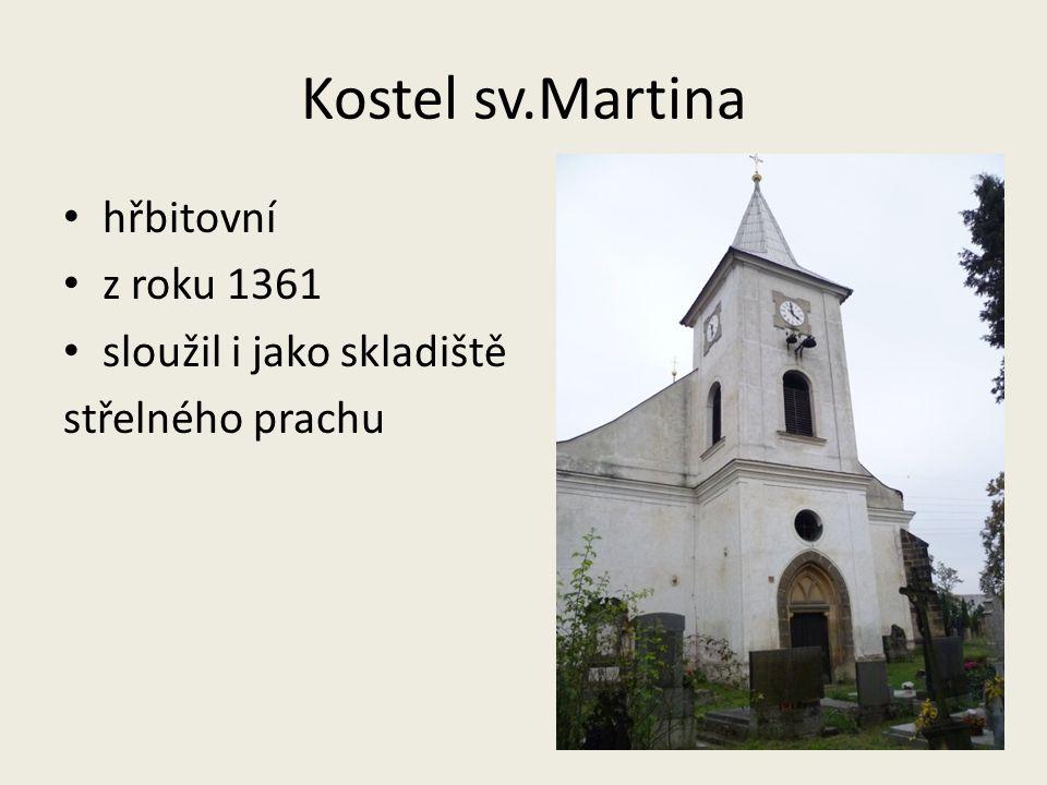 Kostel sv.Martina hřbitovní z roku 1361 sloužil i jako skladiště střelného prachu