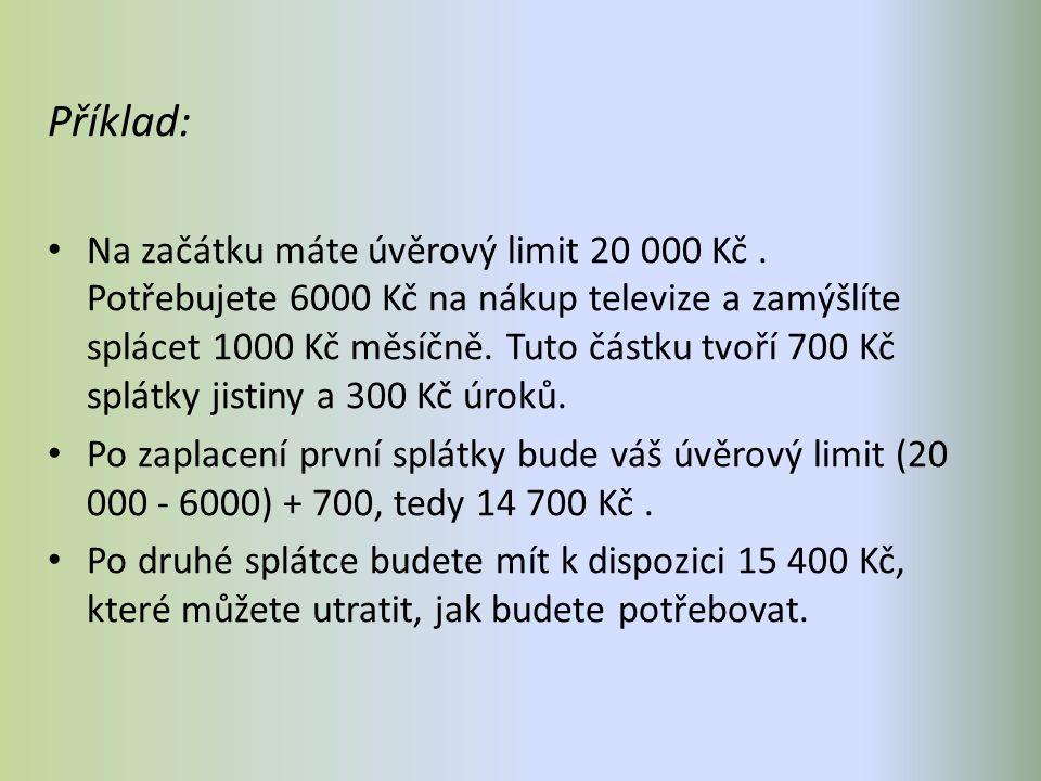 Příklad: Na začátku máte úvěrový limit 20 000 Kč.