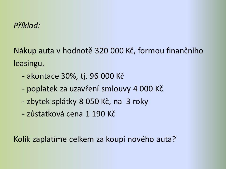 Příklad: Nákup auta v hodnotě 320 000 Kč, formou finančního leasingu.