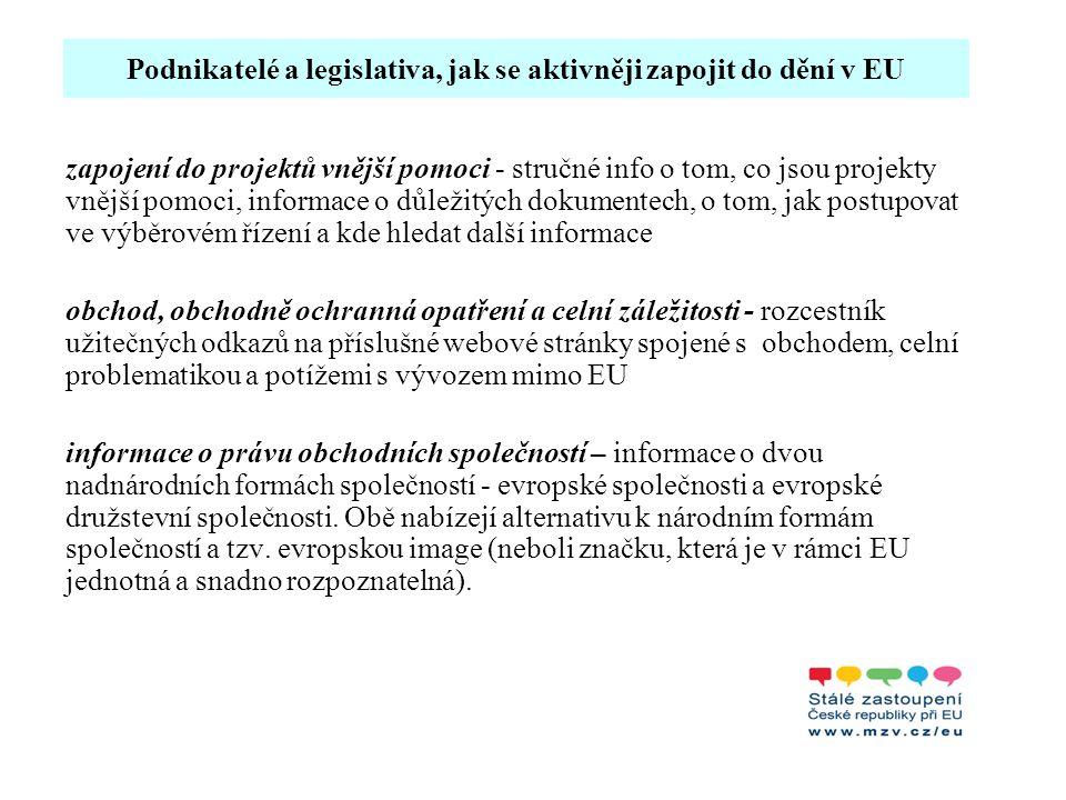 Podnikatelé a legislativa, jak se aktivněji zapojit do dění v EU zapojení do projektů vnější pomoci - stručné info o tom, co jsou projekty vnější pomo