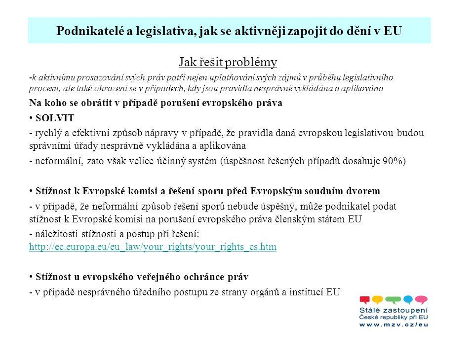 Podnikatelé a legislativa, jak se aktivněji zapojit do dění v EU Jak řešit problémy -k aktivnímu prosazování svých práv patří nejen uplatňování svých