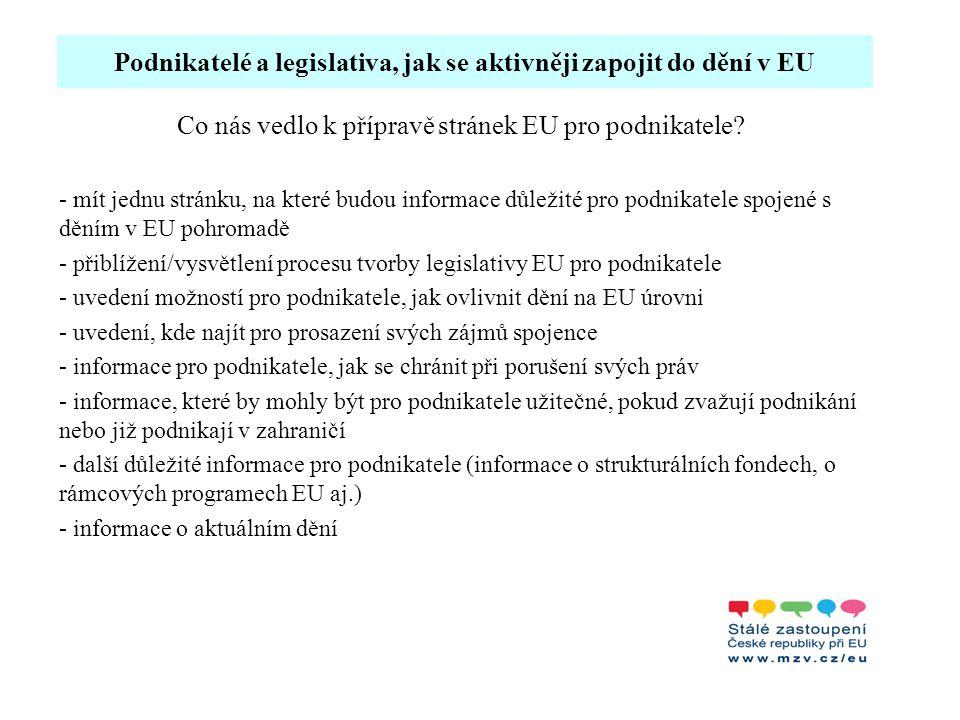 """Podnikatelé a legislativa, jak se aktivněji zapojit do dění v EU -webové stránky SZ Brusel """"EU pro podnikatele : http://www.mzv.cz/representation_brussels/cz/evropska_unie/eu_pro_podnikatele/i ndex.html rozcestník navigující návštěvníka na 5 hlavních sekcí webu: 1.informativní (obsahově konstantnější) část webu - jak ovlivnit předpisy v EU - jak najít spojence - jak podnikat v zahraničí - jak získat peníze z EU - jak řešit problémy 2.aktuality (pravidelně doplňováno) aktuální, pro podnikatele zajímavé a přínosné informace: např."""