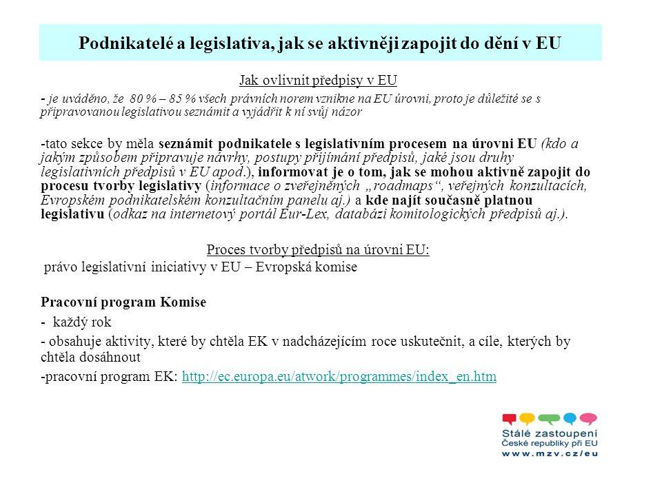 Podnikatelé a legislativa, jak se aktivněji zapojit do dění v EU Další aktivity SZ Brusel pro podnikatele: Sektorové semináře: - dvakrát ročně v Bruselu - příležitostí, jak získat informace o budoucích projektech v konkrétním podnikatelském oboru - cílová skupina: podnikatelé ze zemí EU, kteří mají zájem účastnit se projektů zahraniční spolupráce ve třetích zemích, cca 150 firem z celé EU.