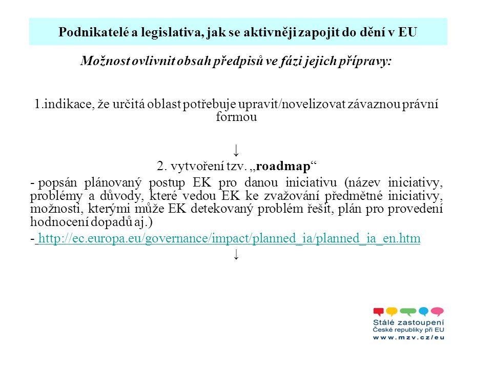 Podnikatelé a legislativa, jak se aktivněji zapojit do dění v EU Možnost ovlivnit obsah předpisů ve fázi jejich přípravy: 1.indikace, že určitá oblast potřebuje upravit/novelizovat závaznou právní formou ↓ 2.