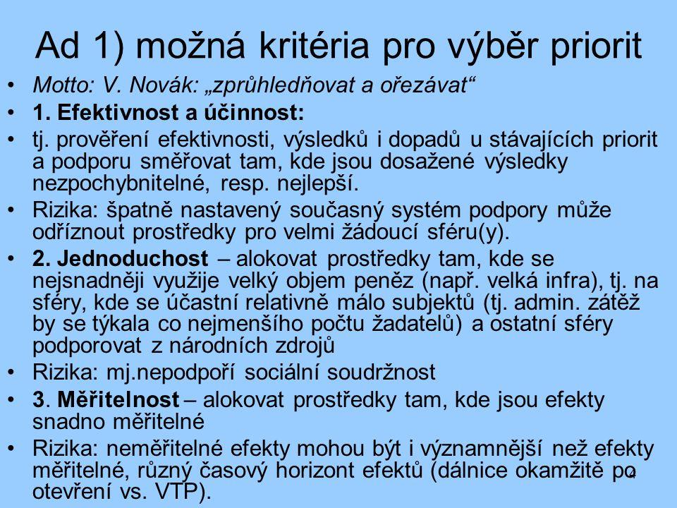 """4 Ad 1) možná kritéria pro výběr priorit Motto: V. Novák: """"zprůhledňovat a ořezávat"""" 1. Efektivnost a účinnost: tj. prověření efektivnosti, výsledků i"""