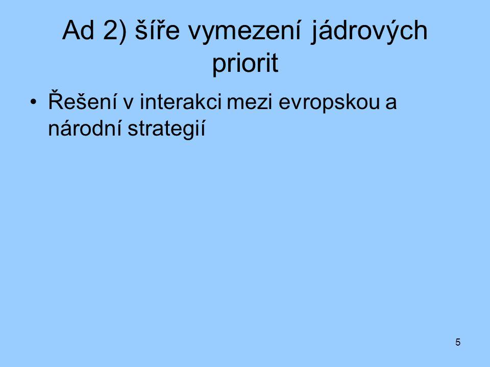 5 Ad 2) šíře vymezení jádrových priorit Řešení v interakci mezi evropskou a národní strategií