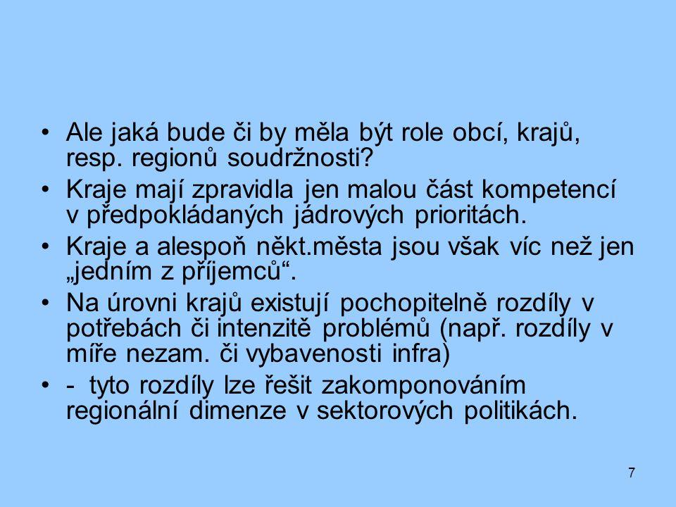 7 Ale jaká bude či by měla být role obcí, krajů, resp. regionů soudržnosti? Kraje mají zpravidla jen malou část kompetencí v předpokládaných jádrových