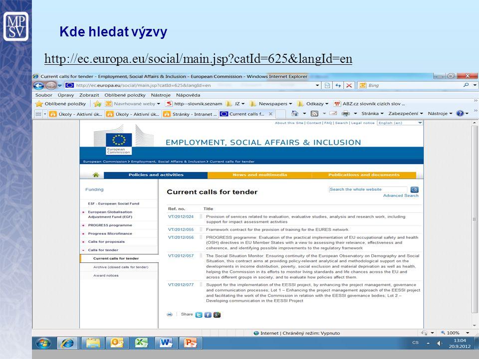 10 Kde hledat výzvy http://ec.europa.eu/social/main.jsp?catId=625&langId=en