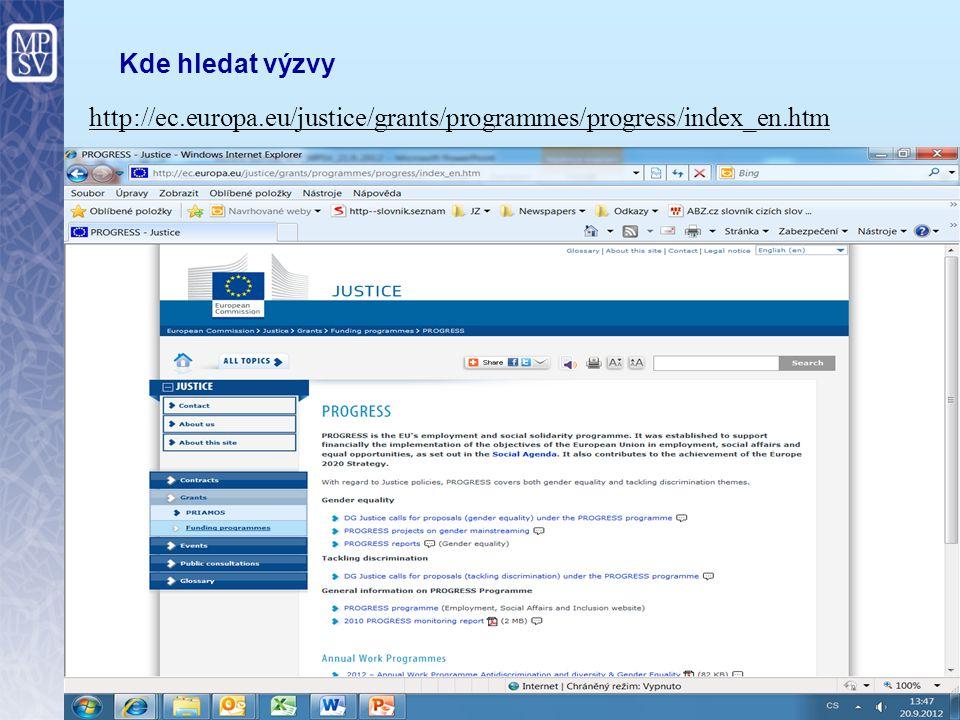 11 Kde hledat výzvy http://ec.europa.eu/social/main.jsp?catId=625&langId=en