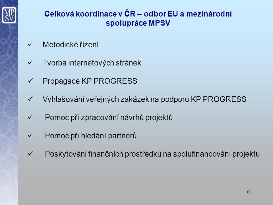 6 Celková koordinace v ČR – odbor EU a mezinárodní spolupráce MPSV Metodické řízení Tvorba internetových stránek Propagace KP PROGRESS Vyhlašování veřejných zakázek na podporu KP PROGRESS Pomoc při zpracování návrhů projektů Pomoc při hledání partnerů Poskytování finančních prostředků na spolufinancování projektu