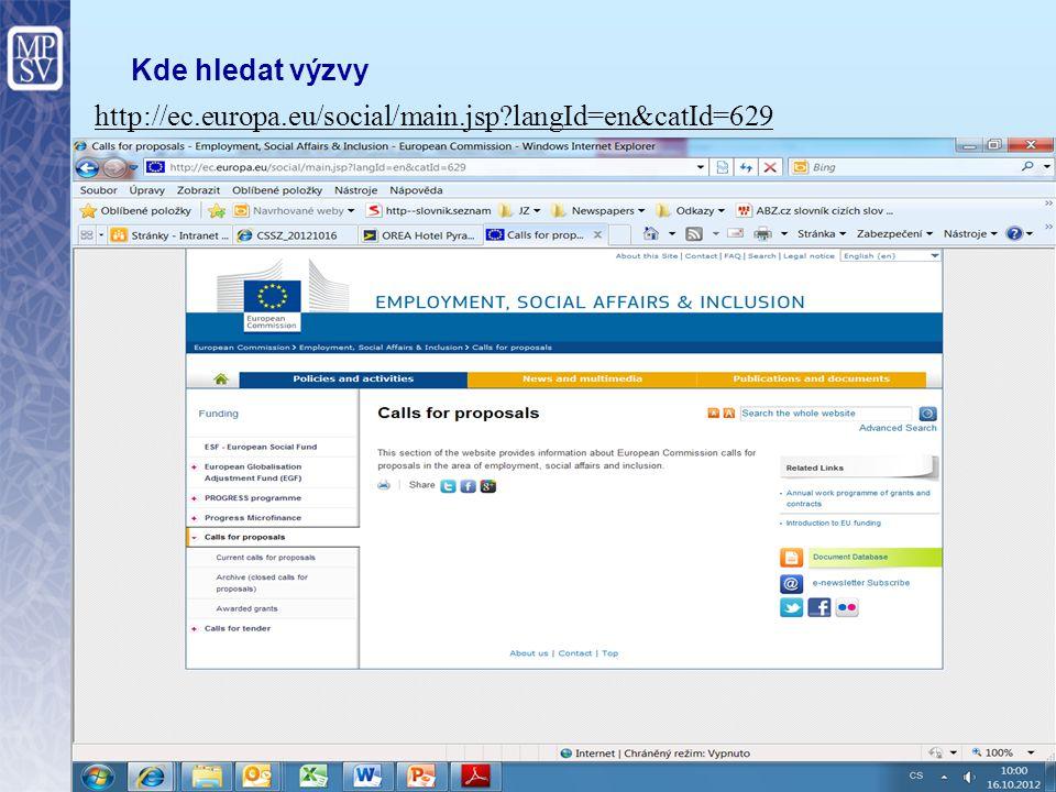 8 Kde hledat výzvy http://ec.europa.eu/social/main.jsp?langId=en&catId=629