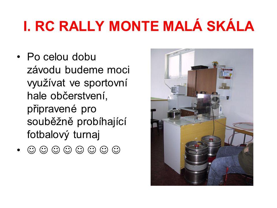 I. RC RALLY MONTE MALÁ SKÁLA Po celou dobu závodu budeme moci využívat ve sportovní hale občerstvení, připravené pro souběžně probíhající fotbalový tu