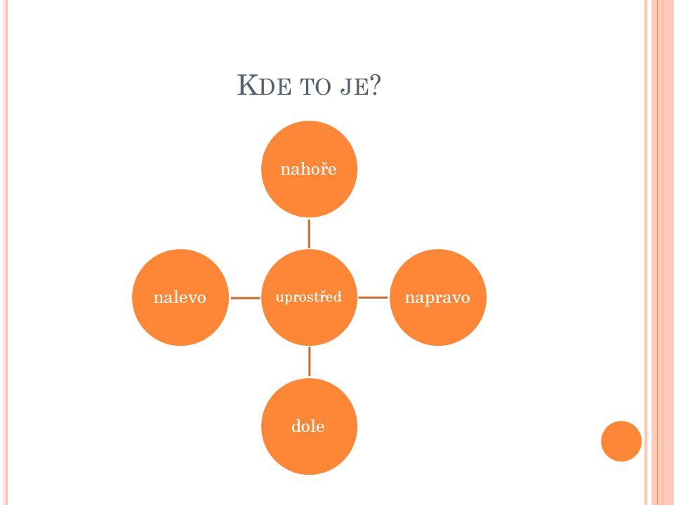 K DE TO JE ? uprostřed nahořenapravodolenalevo