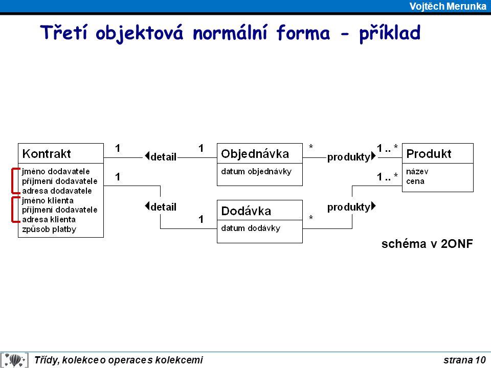 strana 10 Třídy, kolekce o operace s kolekcemi Vojtěch Merunka Třetí objektová normální forma - příklad schéma v 2ONF