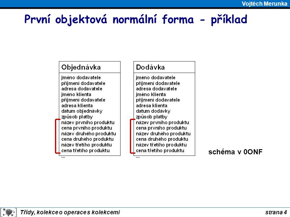 strana 5 Třídy, kolekce o operace s kolekcemi Vojtěch Merunka První objektová normální forma - výsledek schéma v 1ONF