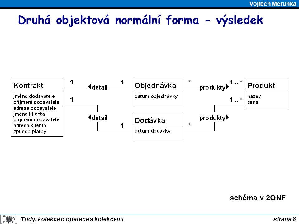 strana 9 Třídy, kolekce o operace s kolekcemi Vojtěch Merunka Třetí objektová normální forma Třída je ve třetí objektové normální formě, jestliže její objekty neobsahují atribut nebo skupinu atributů, které mají samostatný význam nezávislý na objektu, ve kterém jsou obsaženy.
