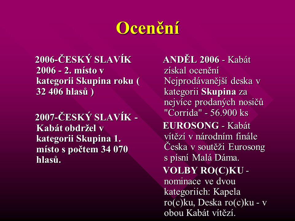 Ocenění 2006-ČESKÝ SLAVÍK 2006 - 2. místo v kategorii Skupina roku ( 32 406 hlasů ) 2006-ČESKÝ SLAVÍK 2006 - 2. místo v kategorii Skupina roku ( 32 40