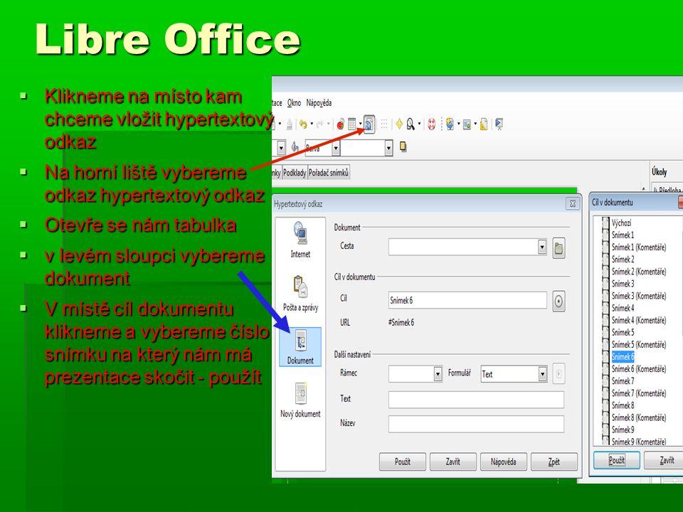 Libre Office  Klikneme na místo kam chceme vložit hypertextový odkaz  Na horní liště vybereme odkaz hypertextový odkaz  Otevře se nám tabulka  v l