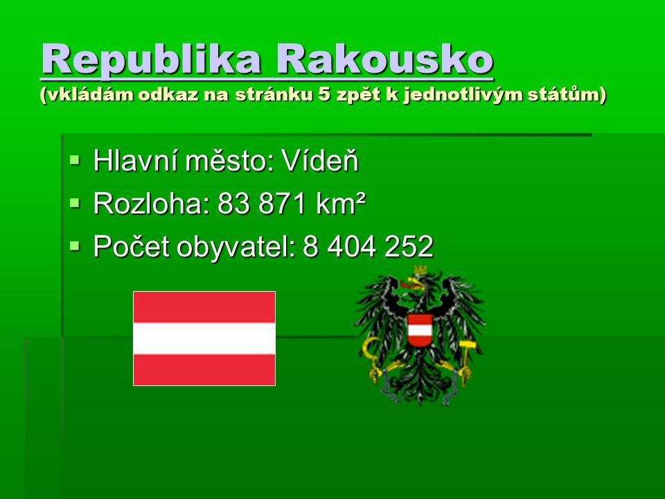 Republika Rakousko Republika Rakousko (vkládám odkaz na stránku 5 zpět k jednotlivým státům) Republika Rakousko  Hlavní město: Vídeň  Rozloha: 83 87