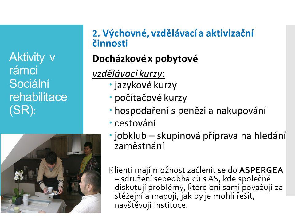 Aktivity v rámci Sociální rehabilitace (SR) : 2. Výchovné, vzdělávací a aktivizační činnosti Docházkové x pobytové vzdělávací kurzy:  jazykové kurzy