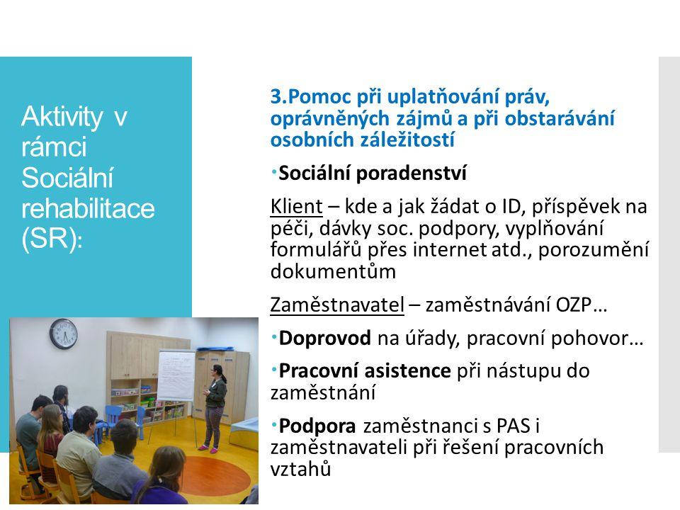 Aktivity v rámci Sociální rehabilitace (SR) : 3.Pomoc při uplatňování práv, oprávněných zájmů a při obstarávání osobních záležitostí  Sociální porade