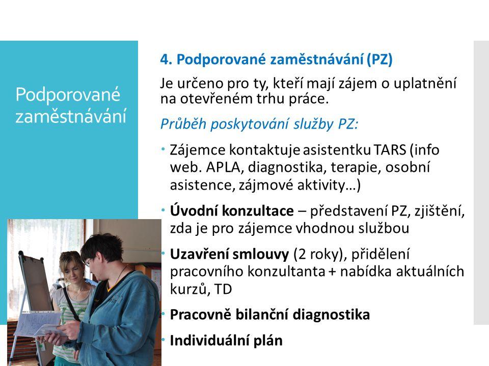 Podporované zaměstnávání 4. Podporované zaměstnávání (PZ) Je určeno pro ty, kteří mají zájem o uplatnění na otevřeném trhu práce. Průběh poskytování s