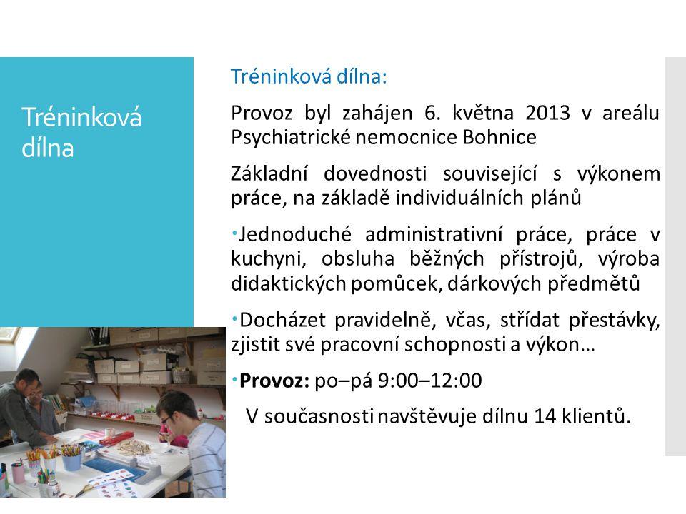 Tréninková dílna Tréninková dílna: Provoz byl zahájen 6. května 2013 v areálu Psychiatrické nemocnice Bohnice Základní dovednosti související s výkone