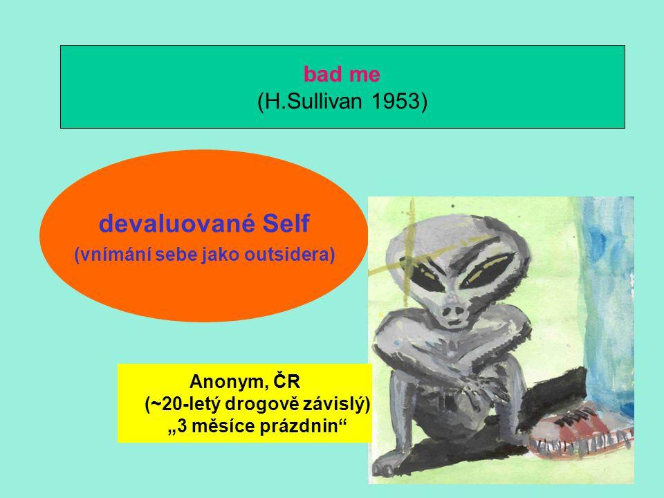 """devaluované Self (vnímání sebe jako outsidera) bad me (H.Sullivan 1953) Anonym, ČR (~20-letý drogově závislý) """"3 měsíce prázdnin"""""""