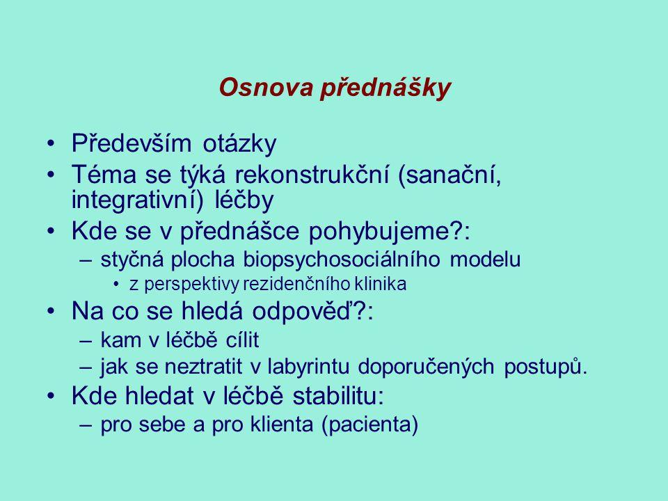 Osnova přednášky Především otázky Téma se týká rekonstrukční (sanační, integrativní) léčby Kde se v přednášce pohybujeme?: –styčná plocha biopsychosoc