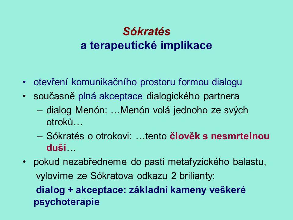 Sókratés a terapeutické implikace otevření komunikačního prostoru formou dialogu současně plná akceptace dialogického partnera –dialog Menón: …Menón v
