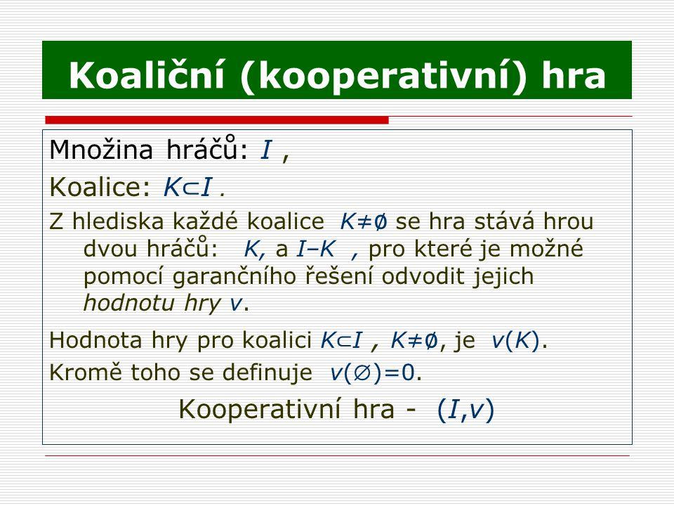Koaliční (kooperativní) hra Množina hráčů: I, Koalice: K ⊂ I. Z hlediska každé koalice K≠ ∅ se hra stává hrou dvou hráčů: K, a I–K, pro které je možné