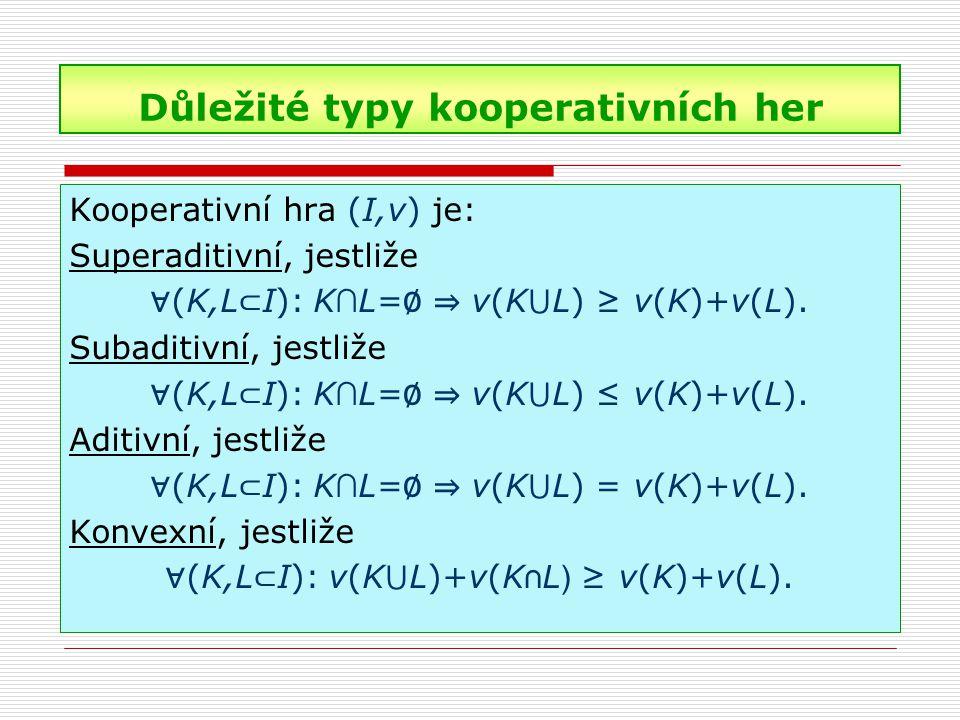 Důležité typy kooperativních her Kooperativní hra (I,v) je: Superaditivní, jestliže ∀ (K,L ⊂ I): K ∩ L= ∅ ⇒ v(K ⋃ L) ≥ v(K)+v(L). Subaditivní, jestliž