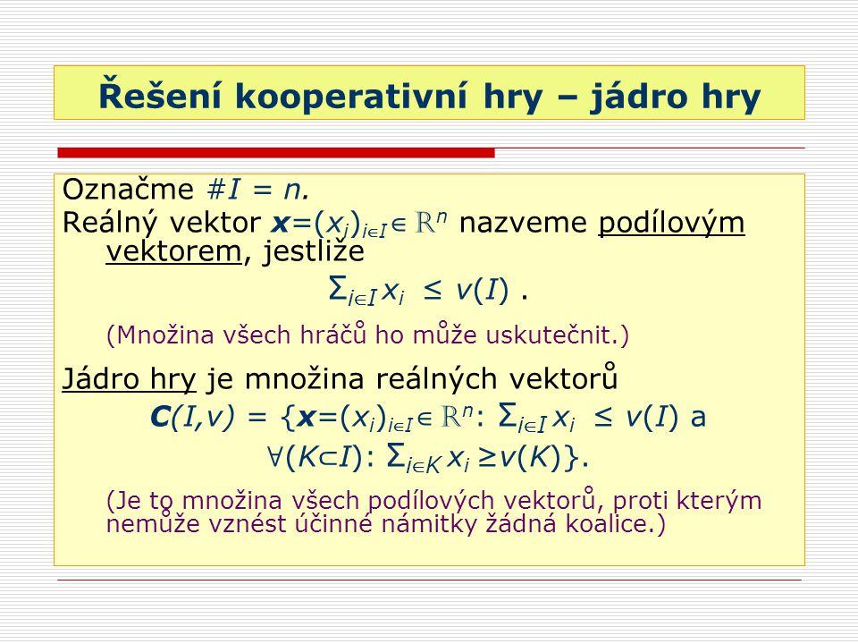 Řešení kooperativní hry – jádro hry Označme #I = n. Reálný vektor x=(x i ) i ∈ I ∈ R n nazveme podílovým vektorem, jestliže Σ i ∈ I x i ≤ v(I). (Množi