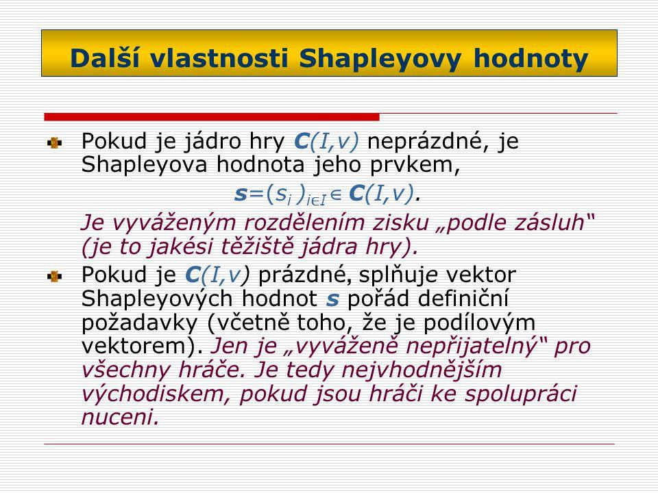 Další vlastnosti Shapleyovy hodnoty Pokud je jádro hry C(I,v) neprázdné, je Shapleyova hodnota jeho prvkem, s=(s i ) i ∈ I ∈ C(I,v).