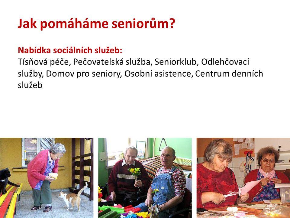 Nabídka sociálních služeb: Tísňová péče, Pečovatelská služba, Seniorklub, Odlehčovací služby, Domov pro seniory, Osobní asistence, Centrum denních slu